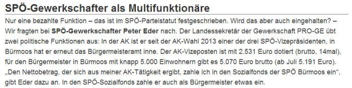 Bericht Salzburger Fenster Peter Eder als Multifunktionär