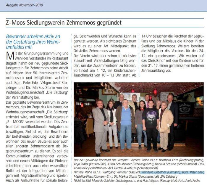 Großer Bericht in der Bürmooser Bürgermeister ZEitung Dezember 2010 zur Gründung des Siedlungsvereines Z-Moos