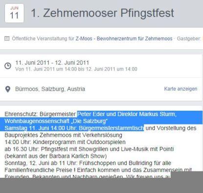Facebook Einladung vin R.Uebelhör als Obmann des VEreines Z-Moos zum Bürgermeisterstammtisch